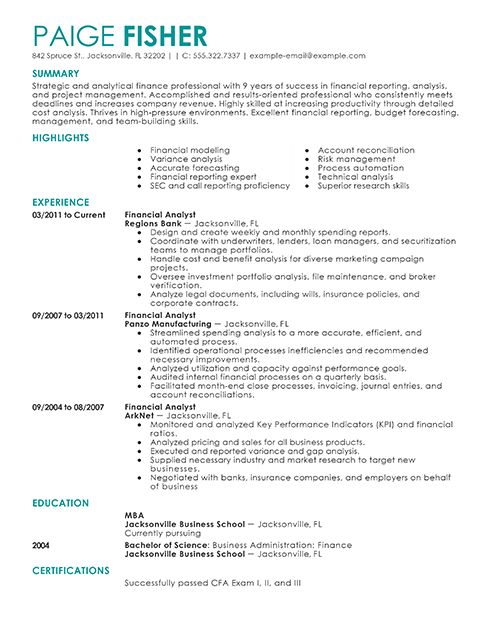 financial planning and analyst resume sample
