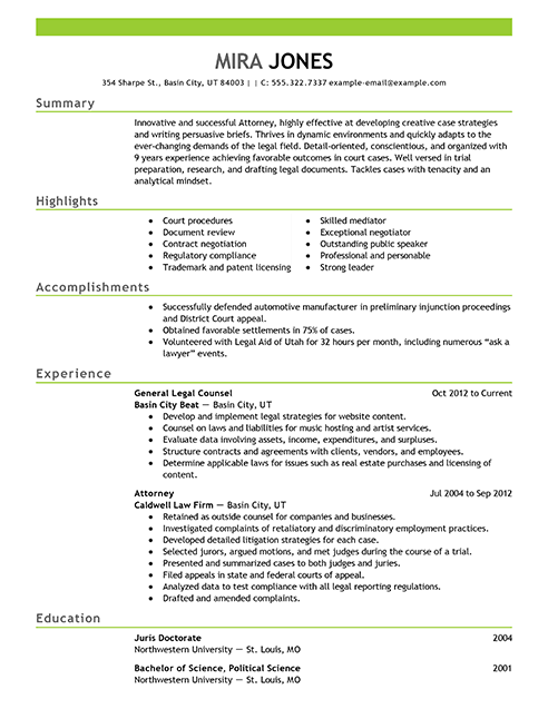 sample resume for lawyers