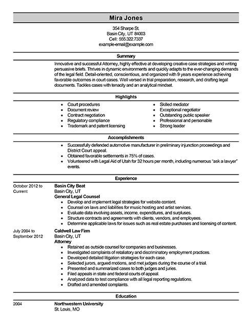 best lawyer resume example livecareer - Attorney Resume Samples