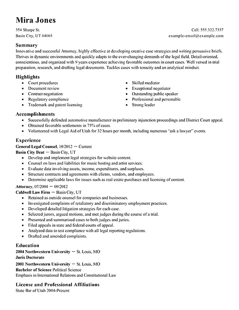 resume format legal jobs