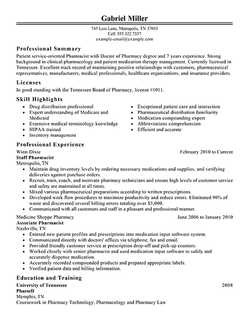 resume summary statement pharmacist