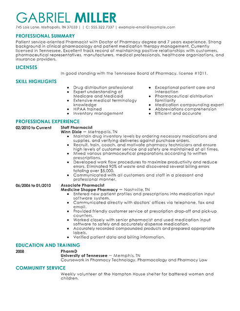 Pharmacist Resume Example
