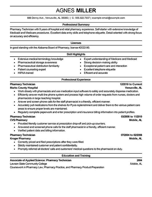 pharmacy technician resume summary