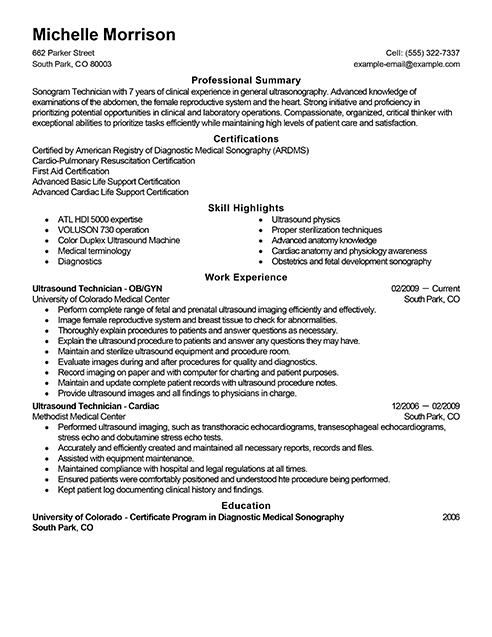 resume samples ultrasound tech