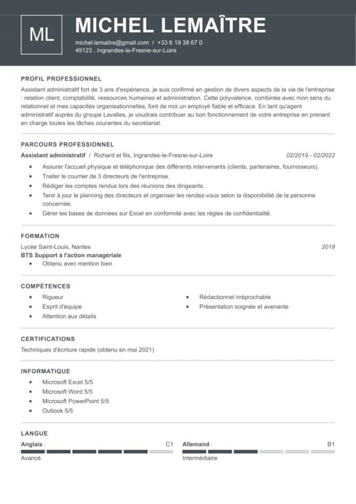 photo modele cv responsable administratif et financier modele lettre