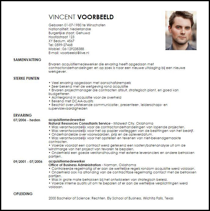 Voorbeeld CV  LiveCareer NL