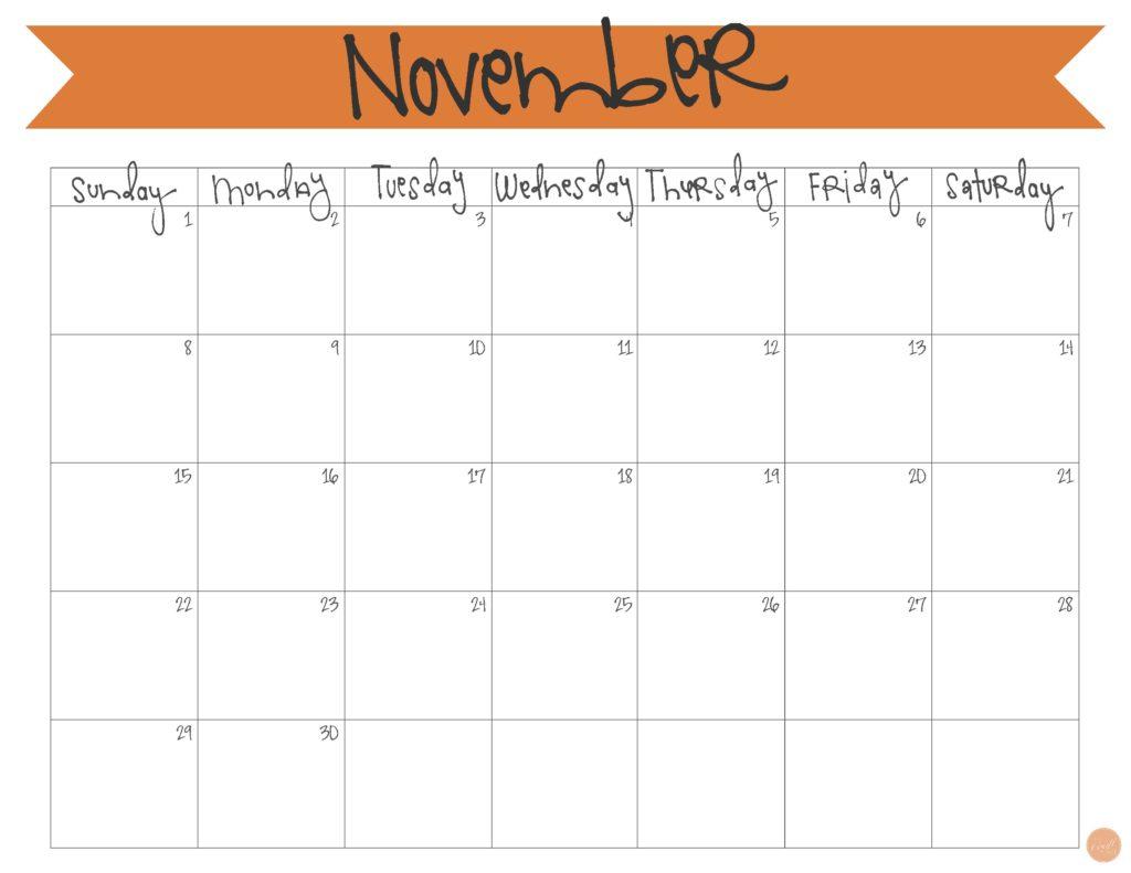 Free Printable Calendar November | Birthday Calendar Craft