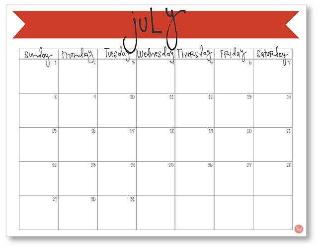 free calendar template july 2015