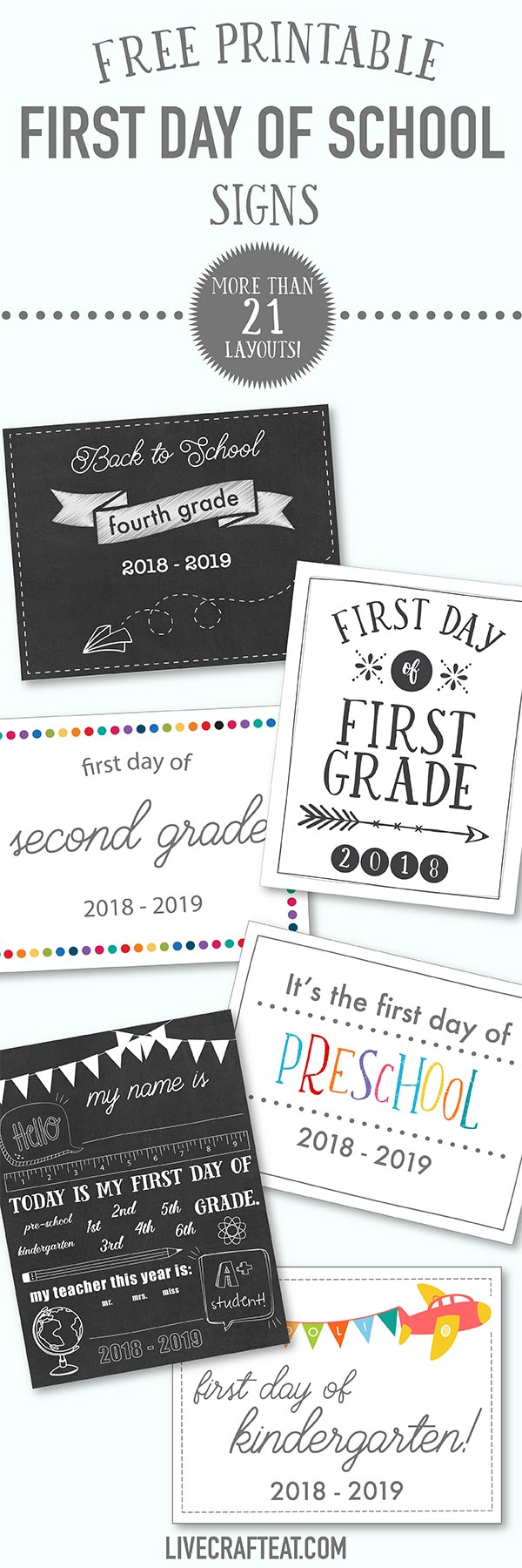 medium resolution of First Day Of School Printables - FREE - 21 Layouts of Pre-K - 6th   Live  Craft Eat