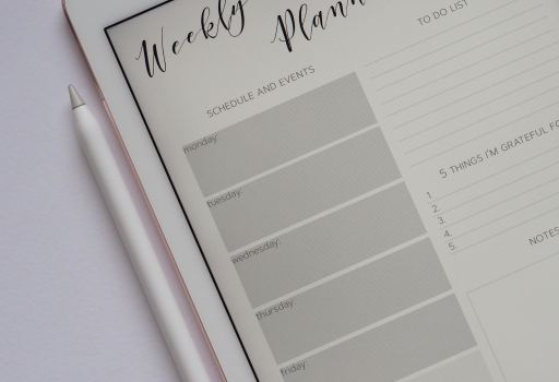 Being organised with an iPad weekly planner