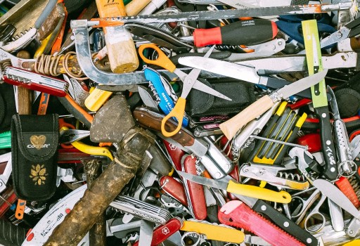 jumble of tools, things you dont need in your home