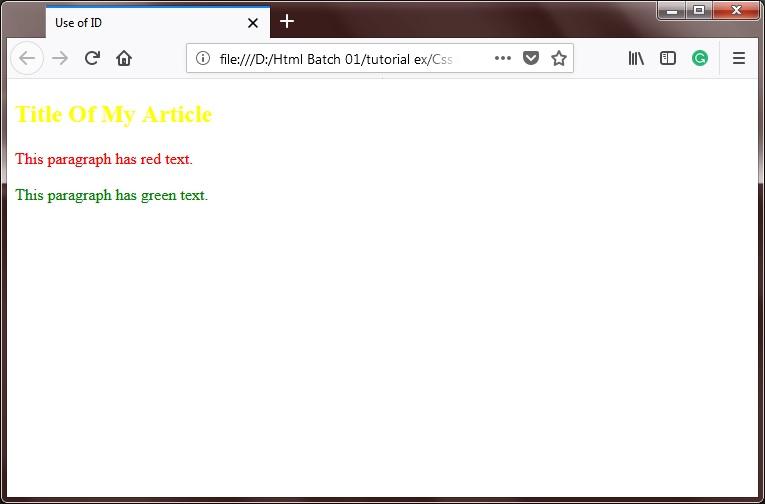 CSS Selectors ids