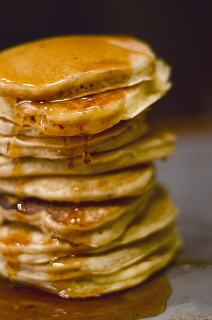 These vanilla pancakes from scratch are fluffy, easy to make, and most importantly, so delicious! Simply homemade, no pre-mix required.