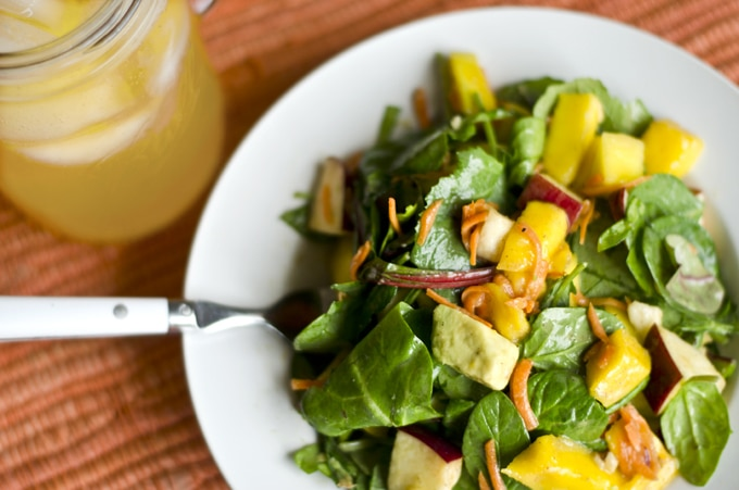 This healthy avocado mango salad is packed with delicious summer fruits and vegetables and drizzled with creamy yogurt dressing.