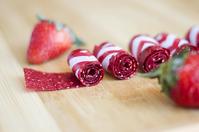 Homemade fruit roll ups with strawberries