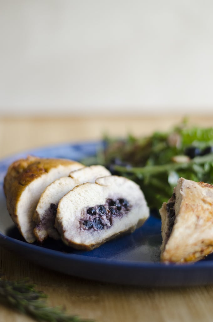 This Blueberry Stuffed Chicken is a simple yet elegant and delicious main course, full of goat cheese, blueberries, rosemary, and yums!