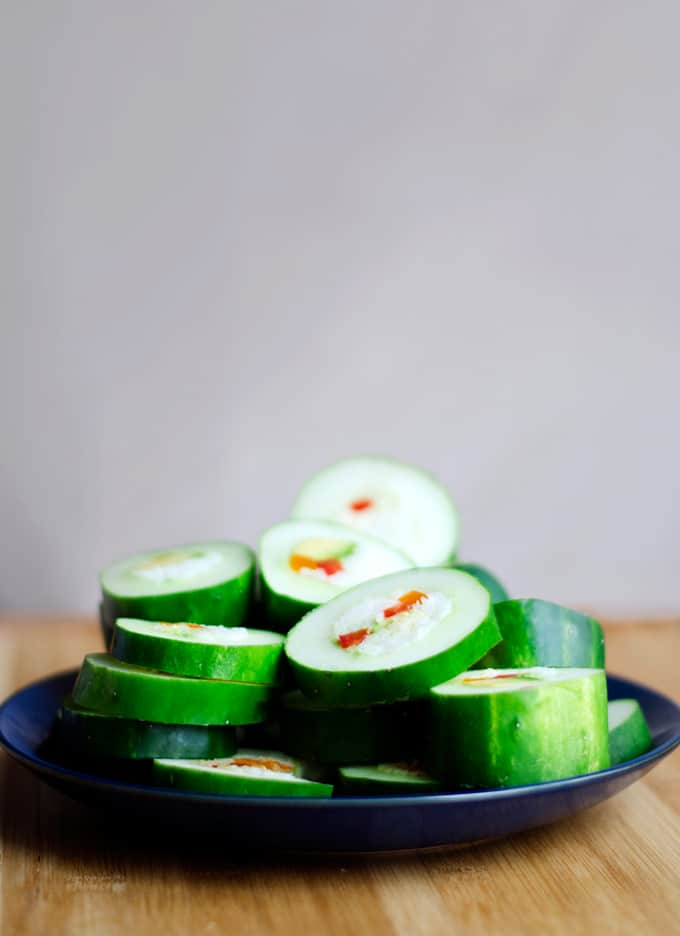 These Cucumber Sushi Rolls are an easy and refreshing way to enjoy vegetarian sushi, without all the hassle and mess of traditional sushi!