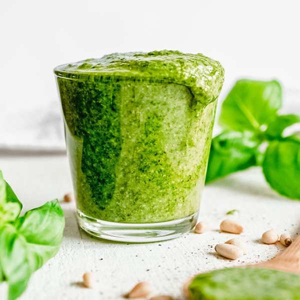 Homemade pesto in a glass jar