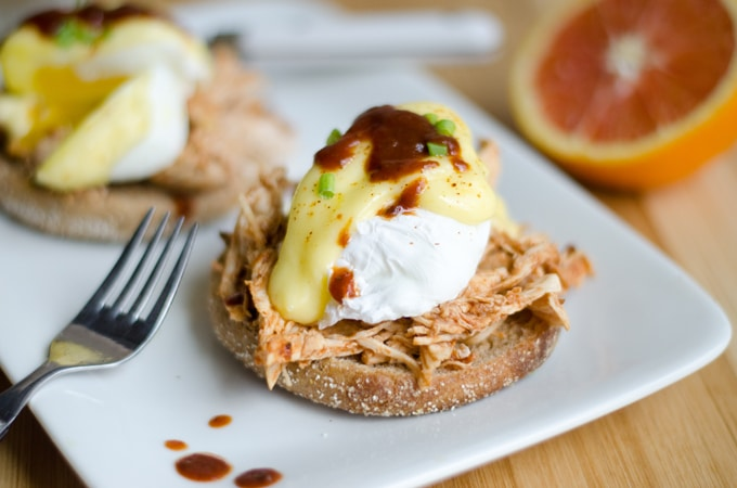This Southern Eggs Benedict is has a southern BBQ twist on the delicious classic, with shredded BBQ chicken, homemade Hollandaise, and a poached egg.