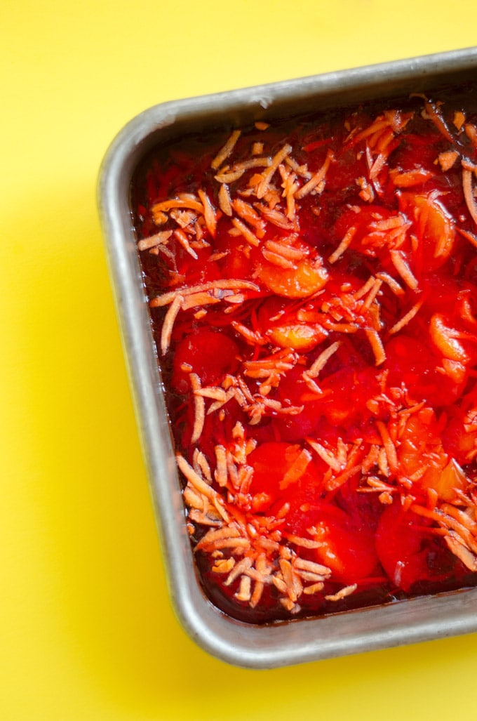 Healthy jello with carrots and mandarine oranges
