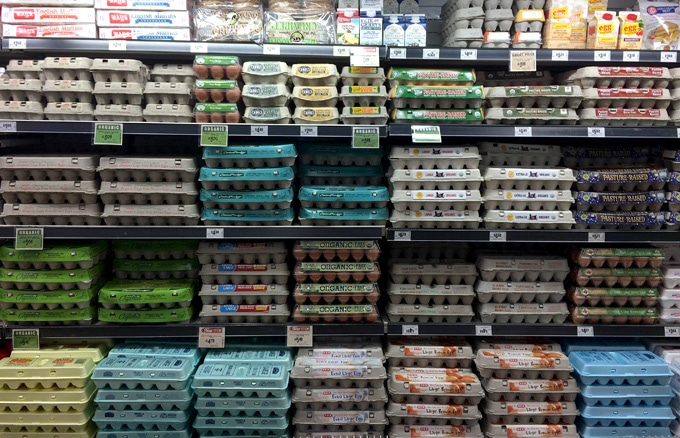 Eggs in a grocery store