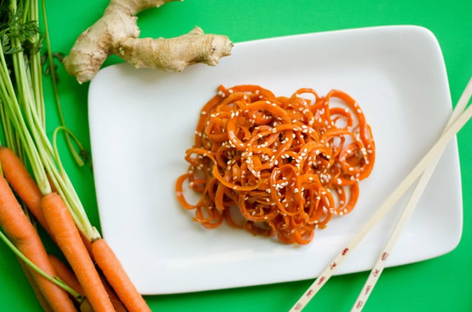 Carrot noodles photo with chopsticks