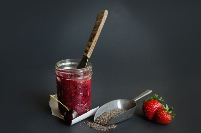 Chia seed jam in a jar