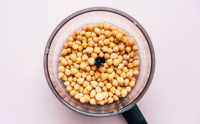 Photo of chickpeas in a food processor