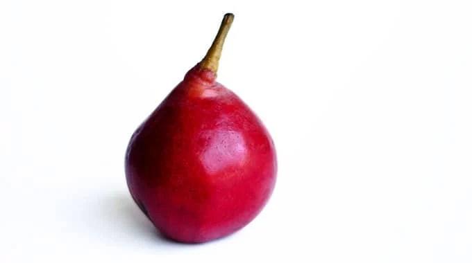 Stark crimson pear on a white background