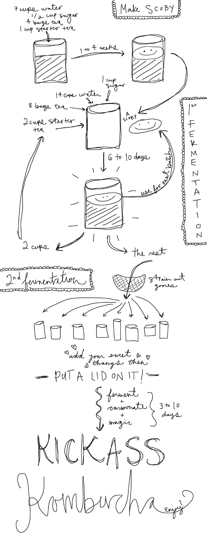 How to make homemade kombucha recipe diagram