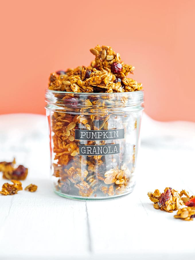 Pumpkin granola in a jar with a label