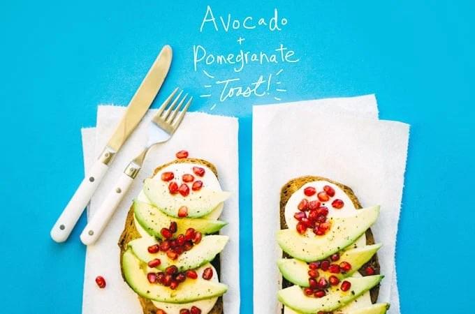 Avocado toast with pomegranate seeds