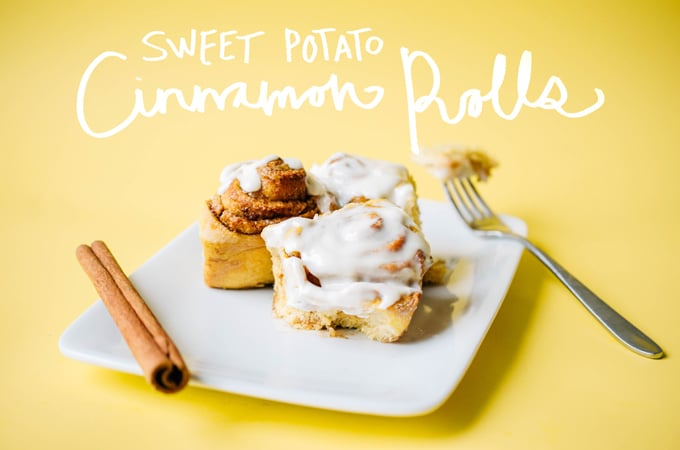 These Sweet Potato Cinnamon Rolls are made with whole wheat flour and mashed sweet potatoes, packing in the nutrients while keeping the same decadently delicious cinnamon roll taste!