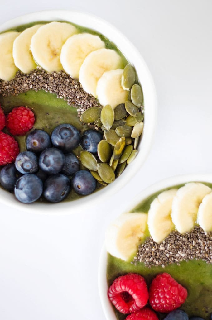 Kale Smoothie Bowl with fruit on top