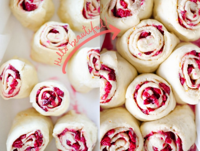 Cranberry Orange Sweet Rolls in a pan