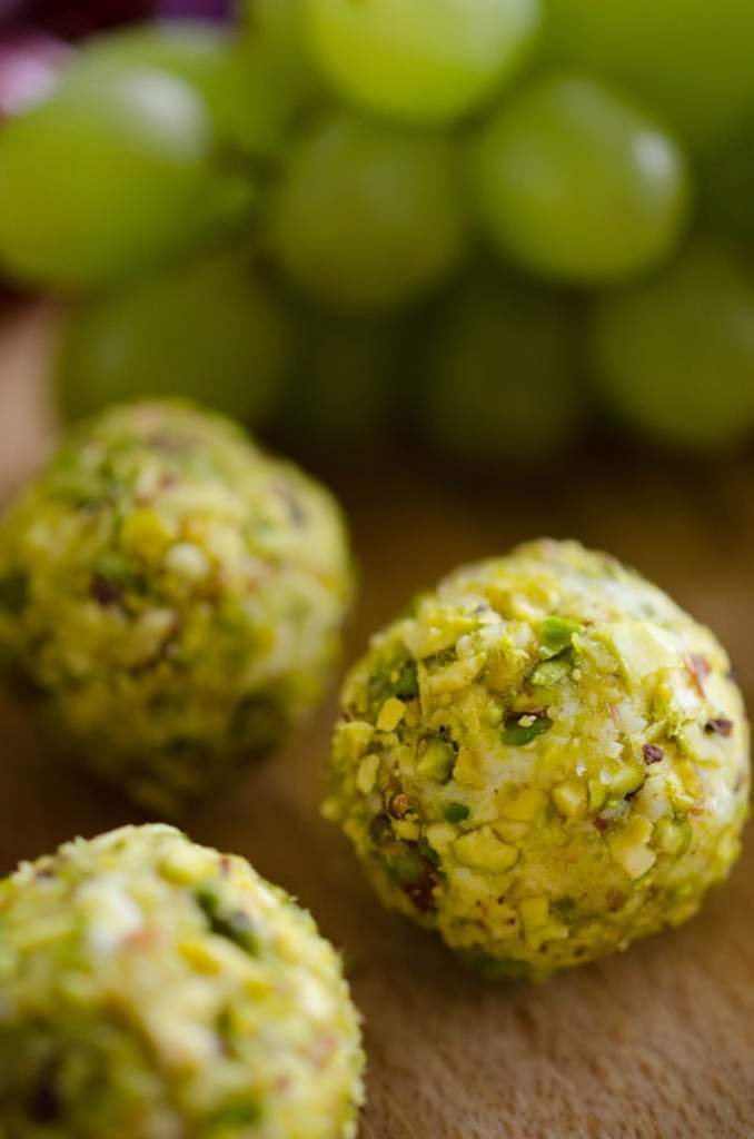 These goat cheese covered grapes rolled in pistachios are crunchy on the outside, creamy on the inside, and bursting with juicy flavor!