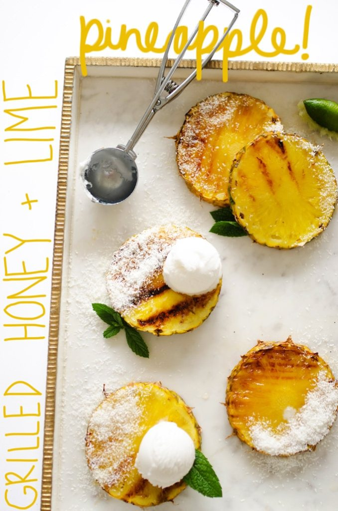 Grilled pineapple with ice cream on top