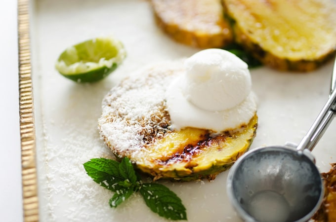 Grilled Honey and Lime Pineapple with ice cream on top