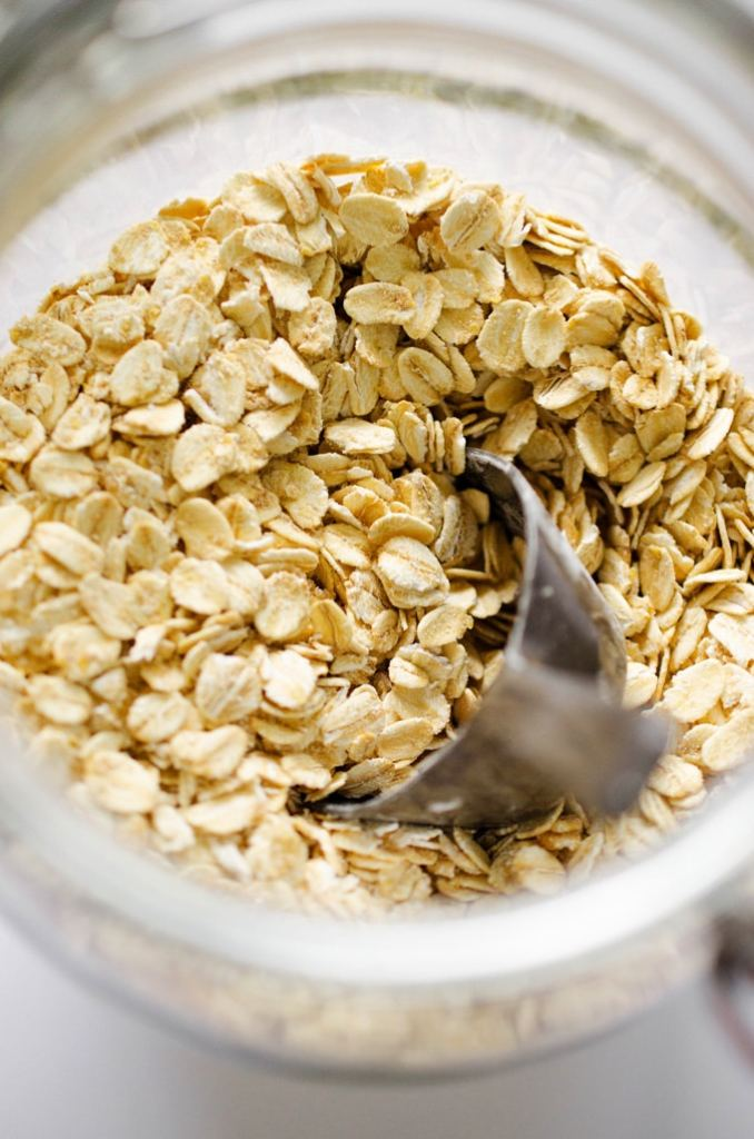 Close up photo of rolled oats in a jar