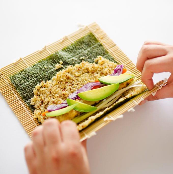 Coconut Tempura Tofu Sushi with Quinoa Rice