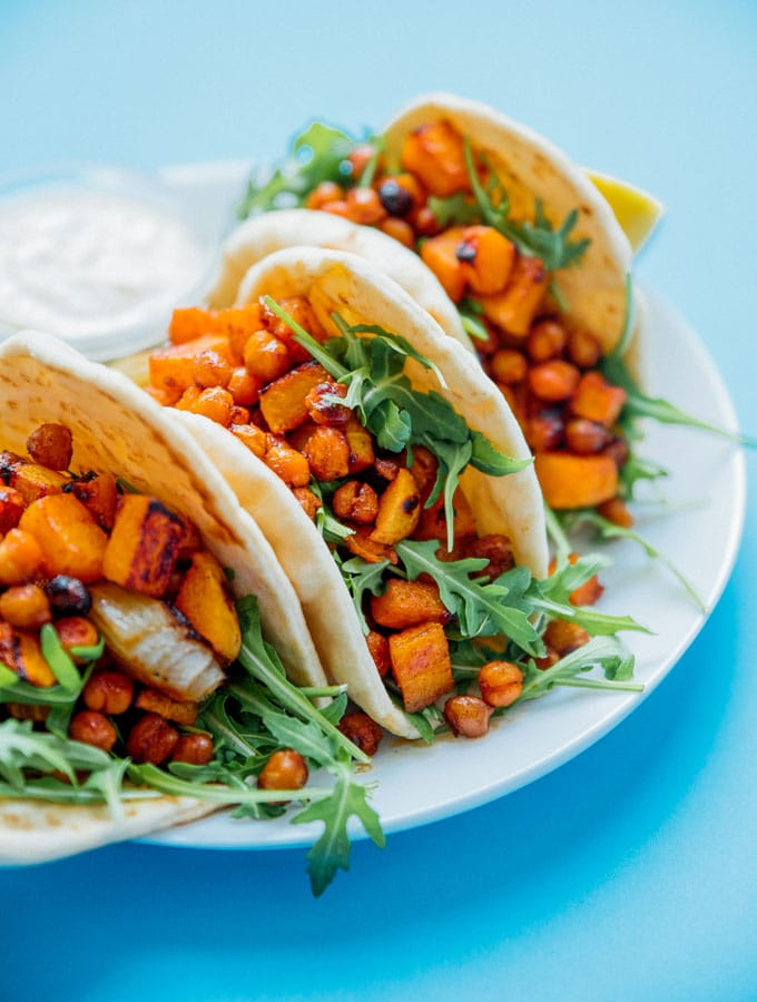 11. Roasted Butternut Chickpea Hummus Wraps