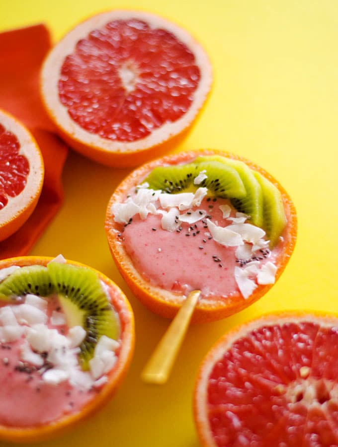 Strawberry Grapefruit Smoothie Bowls