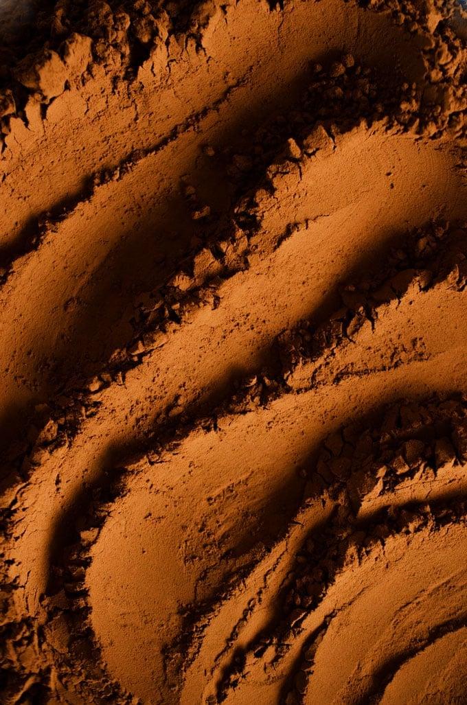 Close up photo of cocoa powder
