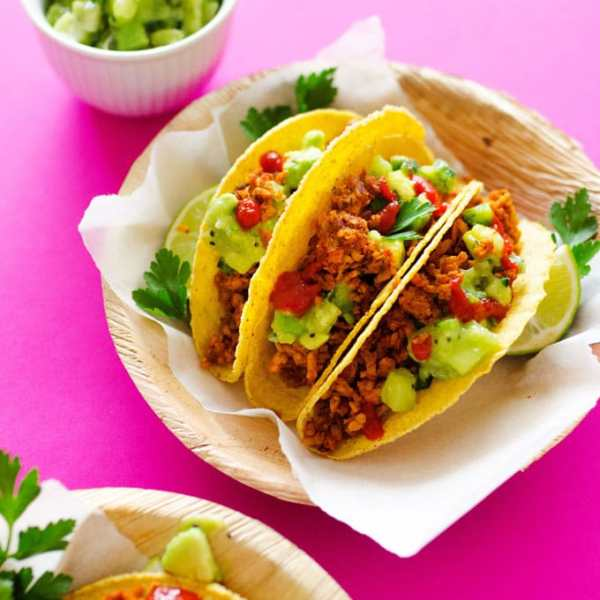 This Tempeh Tacos recipe tastes just like meat, and with Avocado Kiwi Salsa, it's a refreshingly unique and delicious meal you're going to love.