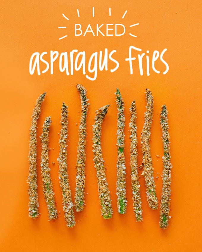 Low carb asparagus fries with almond breading