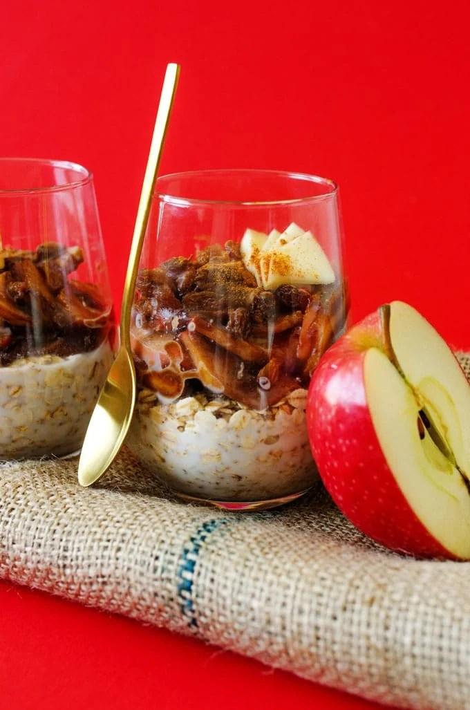 Apple pie overnight oats in a glass