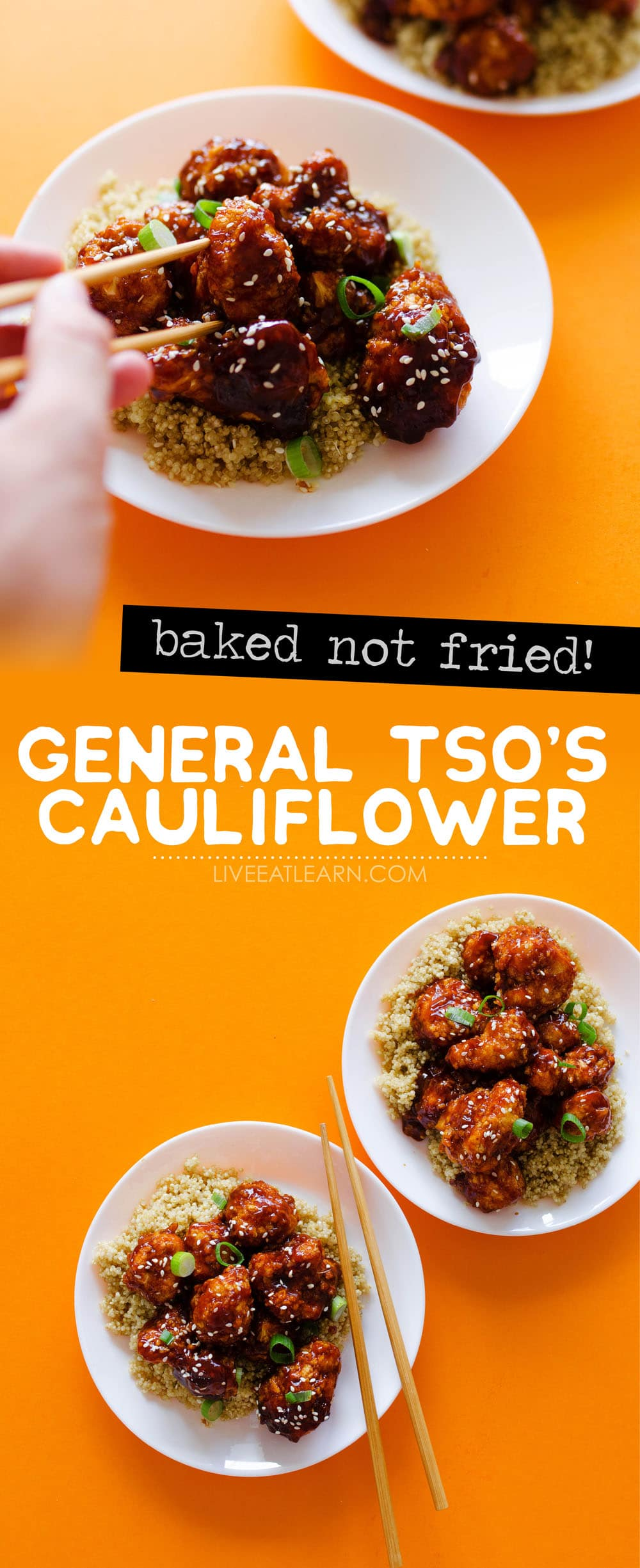 I'm not exaggerating when I say that this Baked General Tso's Cauliflower recipe tastes exactly like the Chinese takeout dinner we all know and love (but without the frying or meat!) Crispy panko-coated cauliflower in a tasty, sticky sauce that's as healthy as it is delicious.
