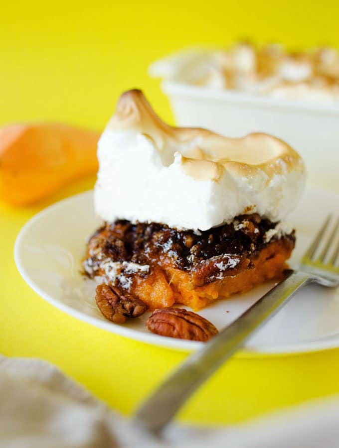4. Sweet Potato Casserole with Pecan Crumble and Meringue