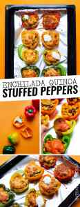 Need a healthy vegetarian dinner outside of your usual routine? These Enchilada Quinoa Stuffed Peppers flavored with a quick homemade enchilada sauce and baked to bubbly, cheesy, perfection.
