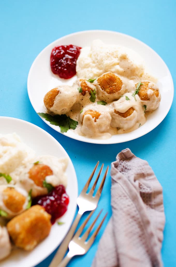 Close up photo of vegetarian Swedish meatballs in cream sauce with cranberry sauce